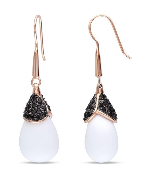 Catherine Malandrino - Pink Synthetic White Agate And Black Cz Drop Earrings - Lyst