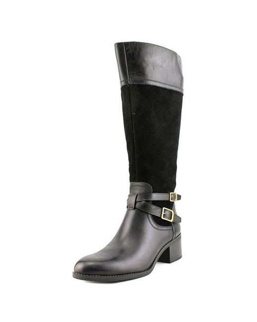 Franco Sarto   Black Lapis Wide-Calf Leather Knee-High Boots   Lyst