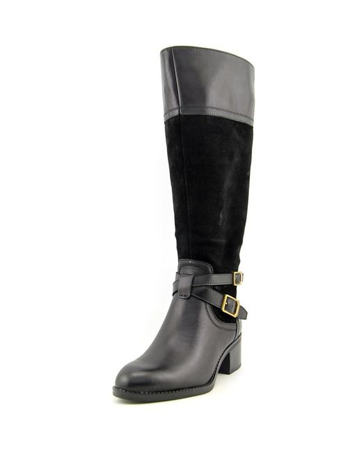 Franco Sarto | Black Lapis Wide-Calf Leather Knee-High Boots | Lyst