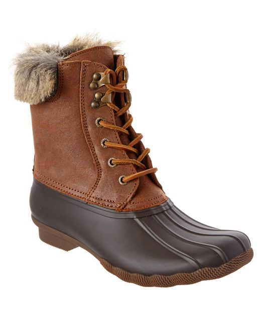 sperry top sider white water boot in brown lyst