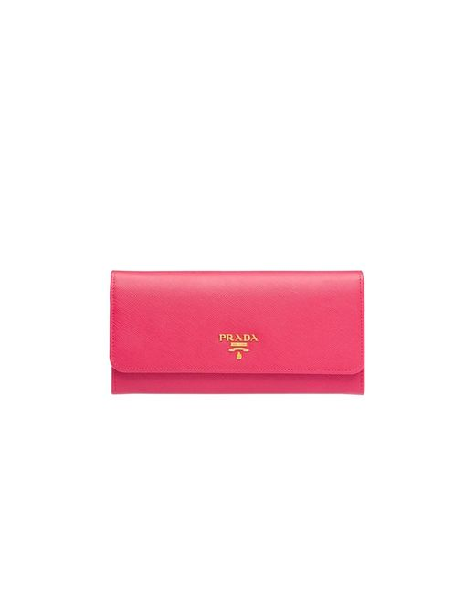 Prada | Pink Saffiano Leather Flap Wallet Peonia | Lyst