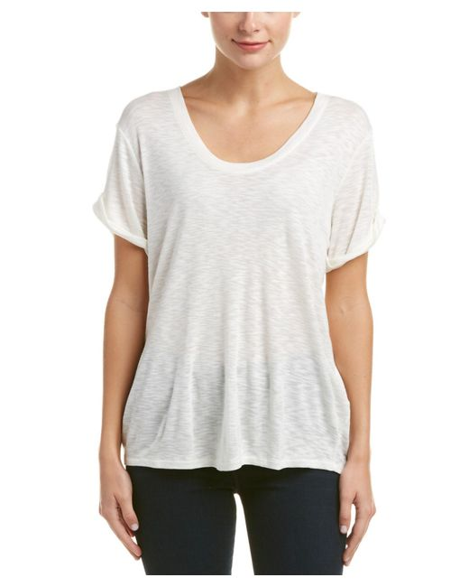Three dots rolled cuff wool blend t shirt in white lyst for Three dots t shirts