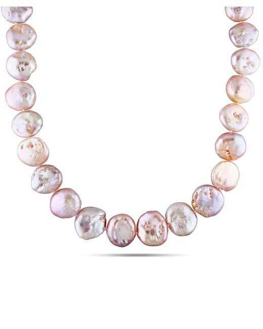 Catherine Malandrino | Pink Freshwater Coin Cultured Pearl Strand With Sterling Silver Clasp | Lyst