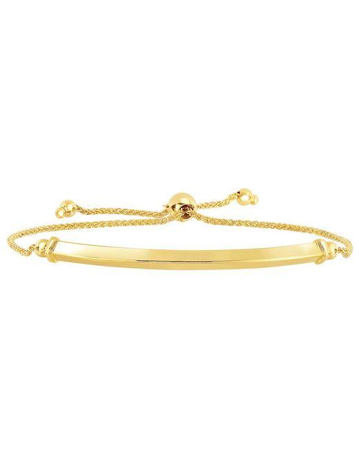 JewelryAffairs - 14k Yellow Gold Diamond Cut Round Wheat Bracelet With Shiny Arched Bar Center Element, 9.25 - Lyst