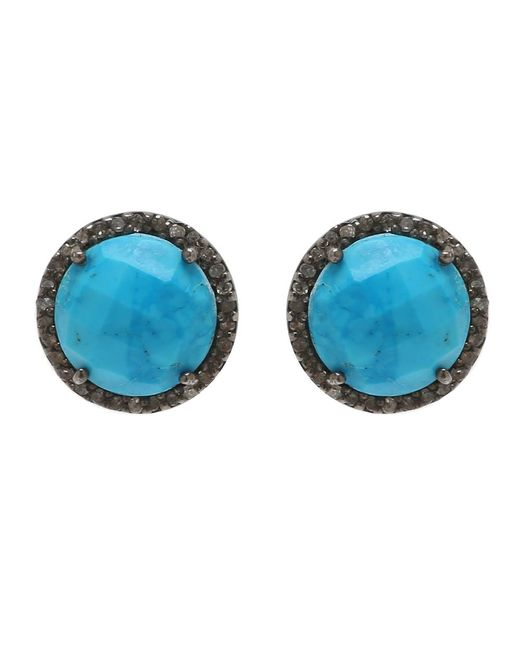 Adornia | Blue Turquoise And Champagne Diamond Echo Earrings | Lyst