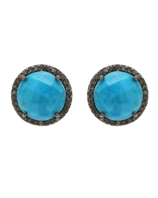 Adornia - Blue Turquoise And Champagne Diamond Echo Earrings - Lyst