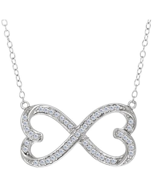 JewelryAffairs | White Double Heart Infinity Sign And Cz Necklace In Sterling Silver, 18 | Lyst