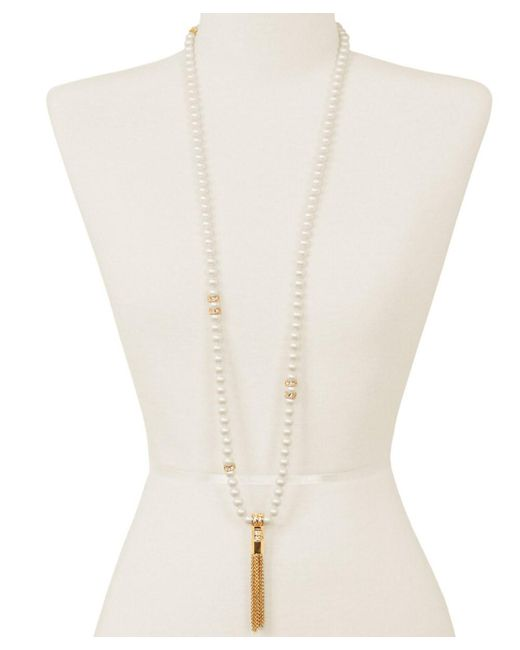 Sparkling Sage | White 14k Plated Crystal & Resin Chain Tassel Necklace | Lyst