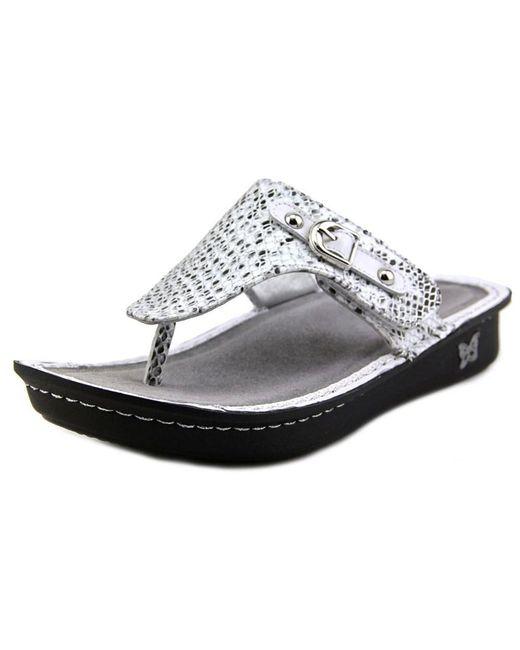 Alegria Vanessa Women Open Toe Leather Silver Flip Flop -2810