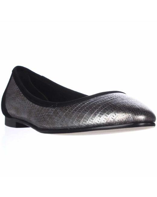 Via Spiga | Metallic Demetria Ballet Flats - Gunmetal Lizard | Lyst