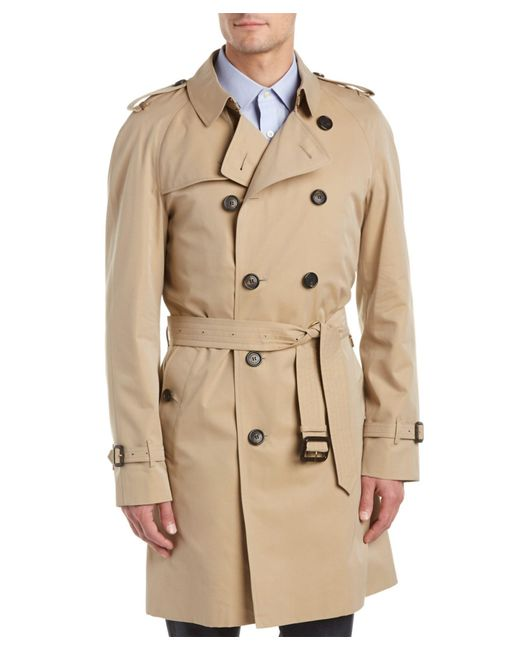 Burberry wiltshire long heritage trench coat in yellow for for Burberry shirt size chart