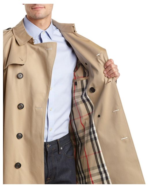 Burberry Wiltshire Long Heritage Trench Coat In Yellow For