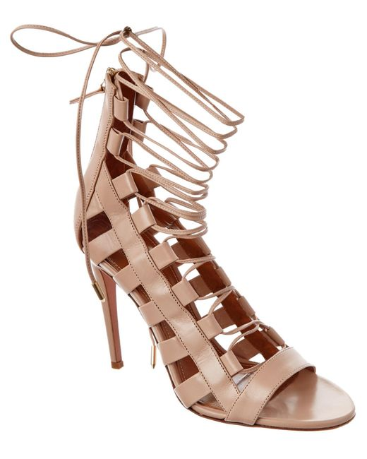 Aquazzura | Brown Amazon Leather Laceup Sandals | Lyst