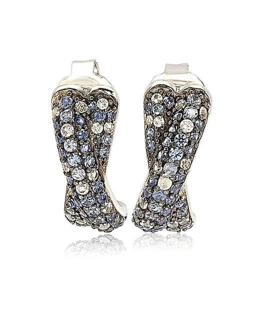 Suzy Levian - Metallic Sterling Silver Sapphire Petite Crossover Pave Earrings - Lyst