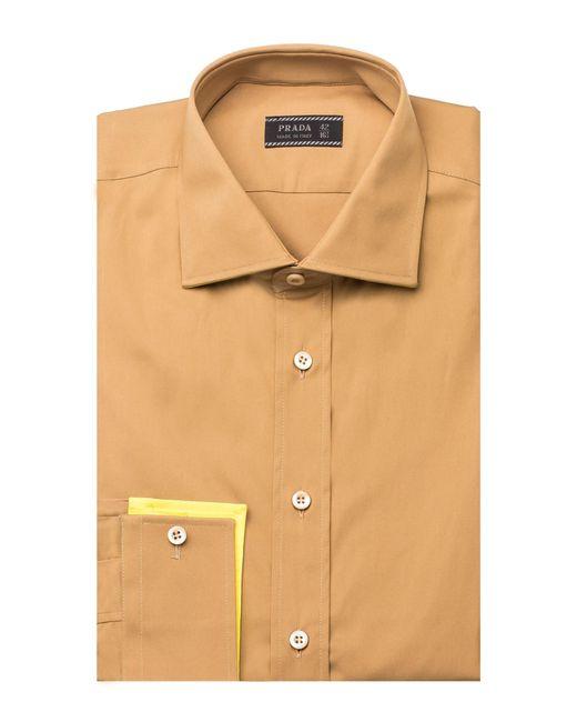 Prada men 39 s undercollar spread collar cotton dress shirt for Mens wide collar dress shirts