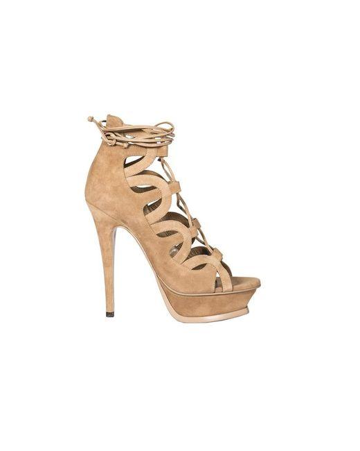 Saint Laurent | Brown Women's 439273c20002748 Beige Suede Sandals | Lyst