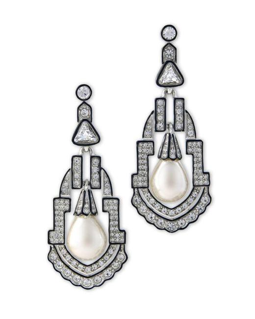 Kenneth Jay Lane   Metallic Women's Silver/pear/crystal Earring   Lyst