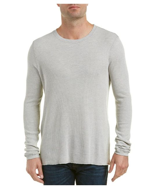Michael Stars | Gray Linen-trim Crewneck Sweater for Men | Lyst