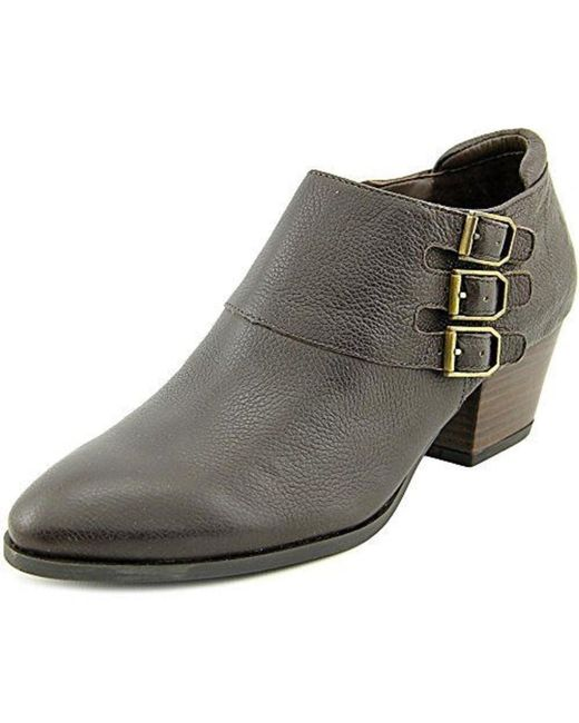 Franco Sarto | Brown Genna Round Toe Leather Bootie | Lyst