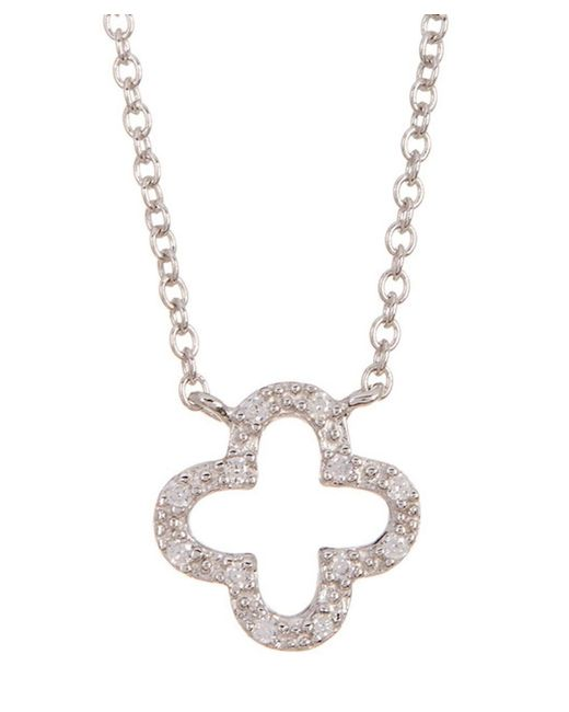 Adornia | Metallic Sterling Silver And Swarovski Crystal Clover Necklace | Lyst