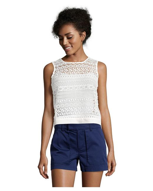 Romeo and Juliet Couture - White Sleeveless Lace Woven Top - Lyst