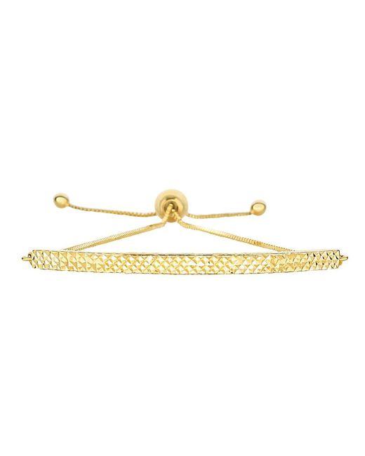 JewelryAffairs - 14k Yellow Gold Diamond Cut Curved Bar Element Anchored On Box Chain Bracelet , 9.25 - Lyst