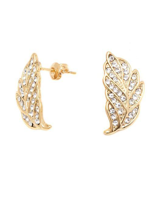 Peermont - Metallic Gold And Swarovski Elements Leaf Earrings - Lyst