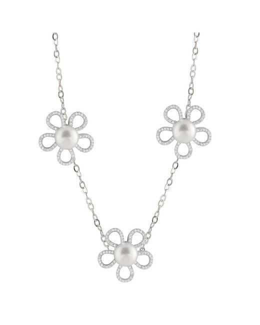 Splendid - Metallic Triple Flower Cz Pearl Station Necklace - Lyst