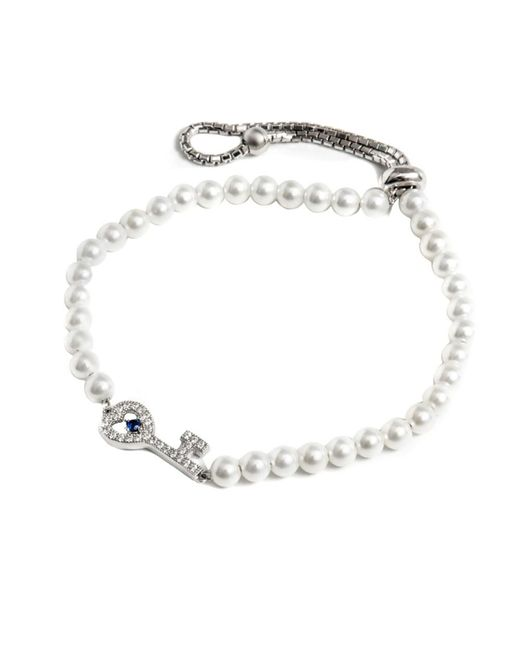 Barzel | Metallic Sterling Silver Freshwater Pearl And Cz Key Friendship Bolo Adjustable Bracelet | Lyst