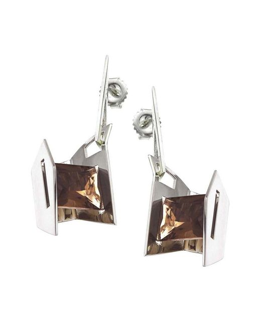 Jewelista - White Smoky Quartz & Sterling Silver Earrings - Lyst