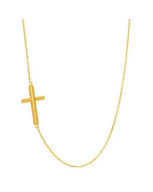 "JewelryAffairs - 14k Yellow Gold Sideways Tube Cross Pendant On 18"" Necklace - Lyst"