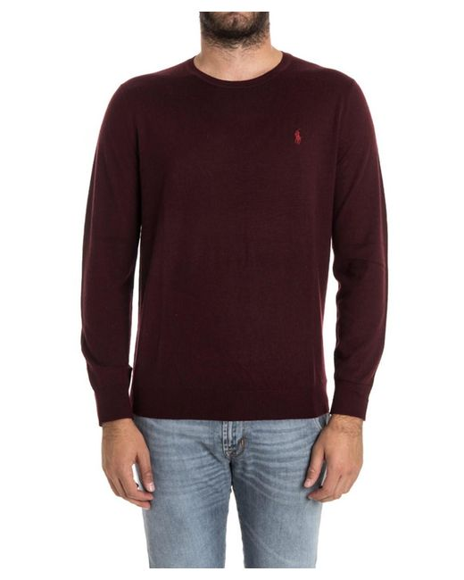 Ralph lauren Men's Burgundy Wool Sweater in Red for Men | Lyst