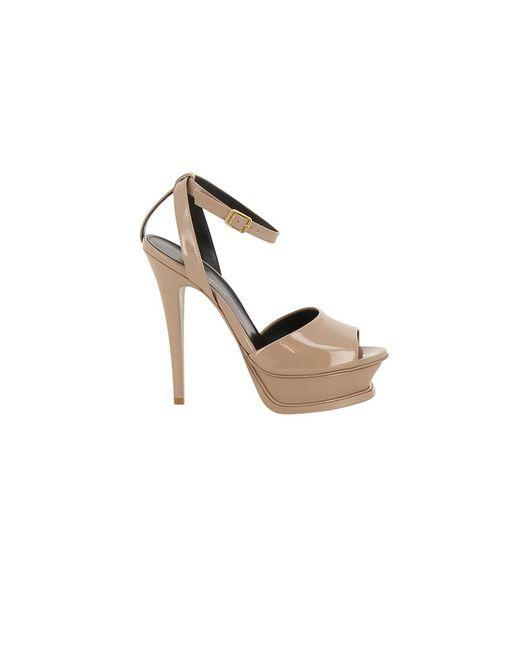 Saint Laurent   Women's 472055d6c009935 Pink Patent Leather Sandals   Lyst