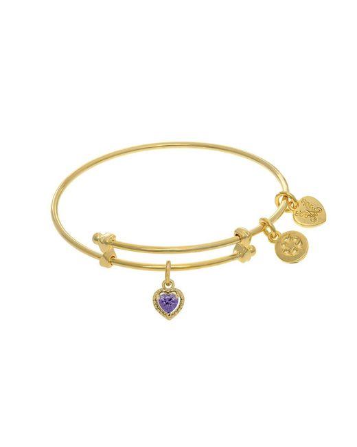 Angelica - Yellow February Heart Shape Cz Birthstone Charm Expandable Tween Bangle Bracelet - Lyst