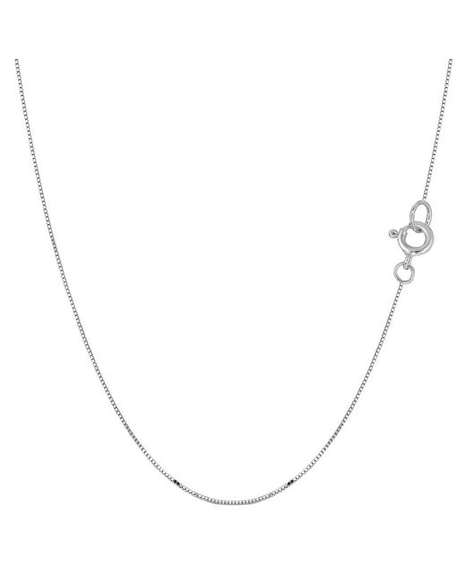 JewelryAffairs - 10k White Gold Classic Mirror Box Chain Necklace, 0.45mm, 18 Inch - Lyst