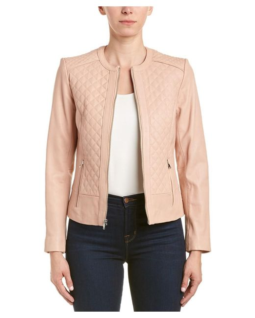 Lyst Cole Haan Quilted Leather Jacket In Pink