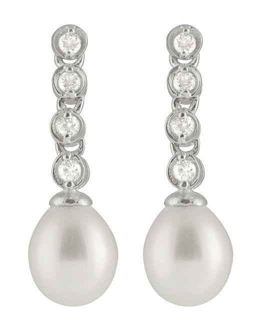 Splendid | Metallic Bezel Cz Pearl Earrings | Lyst
