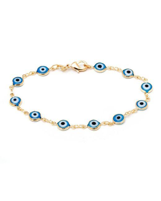 Peermont - Metallic Aqua Crystal & Gold Evil Eye Bracelet - Lyst