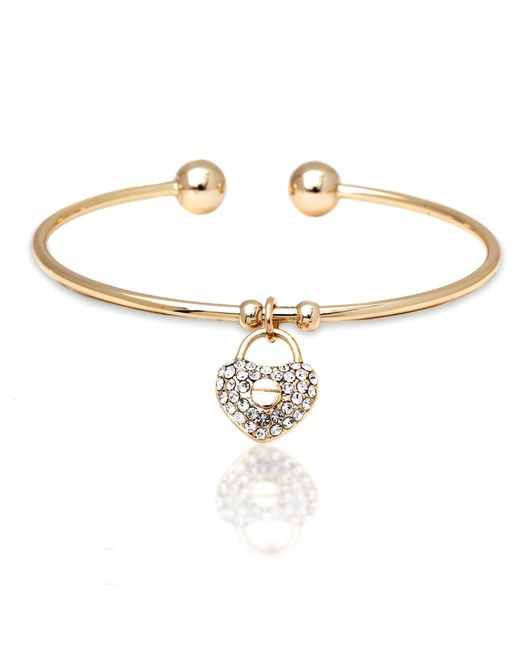 Peermont - Metallic Gold And White Swarovski Elements Heart Lock Charm Bangle - Lyst