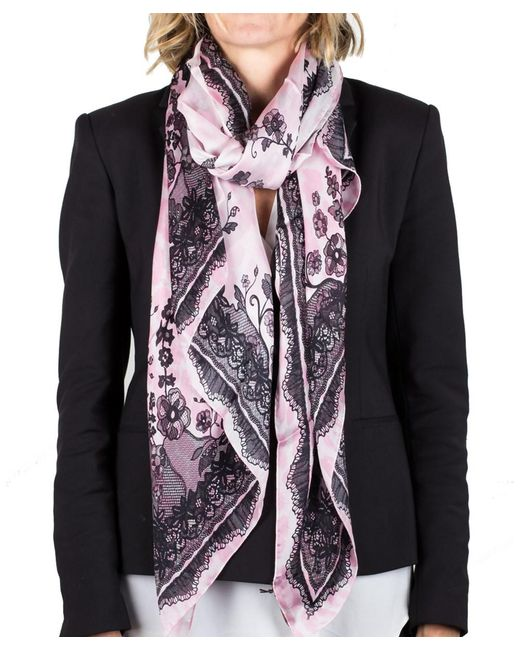 Roberto Cavalli | Pink Women's Floral Lace Print Silk Scarf Large | Lyst