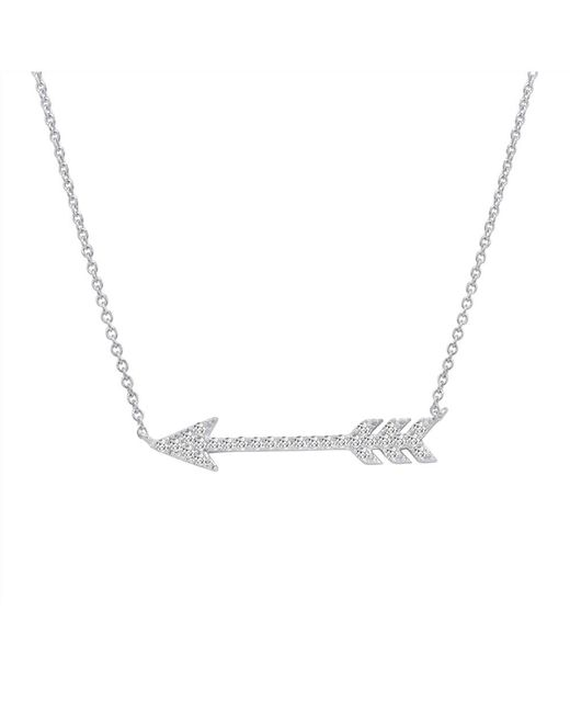 Amanda Rose Collection - Metallic Amanda Rose Cz Arrow Necklace In Sterling Silver On An 18 In. Chain - Lyst
