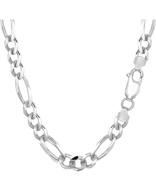JewelryAffairs - Metallic Sterling Silver Rhodium Plated Figaro Chain Bracelet, 8.5 - Lyst
