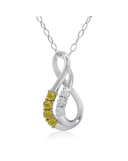 Amanda Rose Collection - Metallic Yellow And White Diamond Swirl Pendant-necklace In Sterling Silver - Lyst