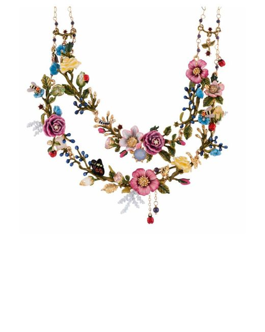 Les Nereides | Multicolor Oriental Rose Bouquet Of An Oriental Garden Two Roughs Couture Necklace | Lyst