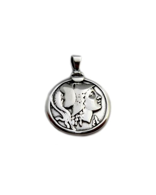 JewelryAffairs - Metallic Sterling Silver Athena Greek Goddess Pendant, Diameter 25mm - Lyst
