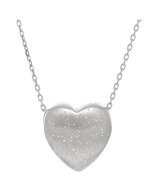 JewelryAffairs | White Sterling Silver Sliding Heart Shape Charm Necklace, 18 | Lyst