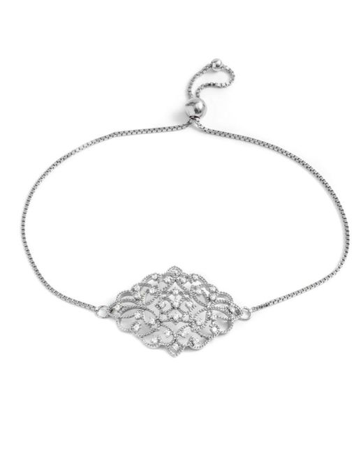 Barzel - Metallic Sterling Silver Floral Cz Friendship Bolo Adjustable Bracelet - Lyst
