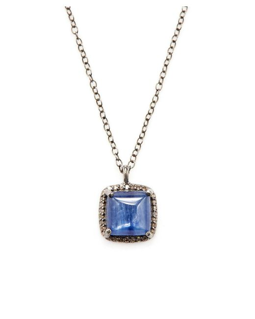 Adornia | Blue Kyanite And Champagne Diamond Mini Zora Necklace | Lyst
