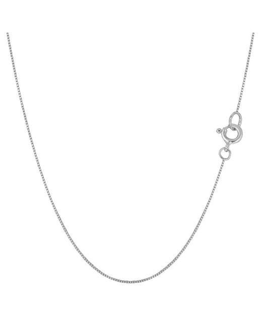 JewelryAffairs - 14k White Gold Classic Mirror Box Chain Necklace, 0.6mm, 18 Inch - Lyst