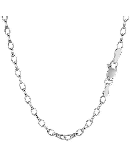 JewelryAffairs - 14k White Gold Oval Rolo Link Chain Bracelet, 3.2mm, 7 for Men - Lyst